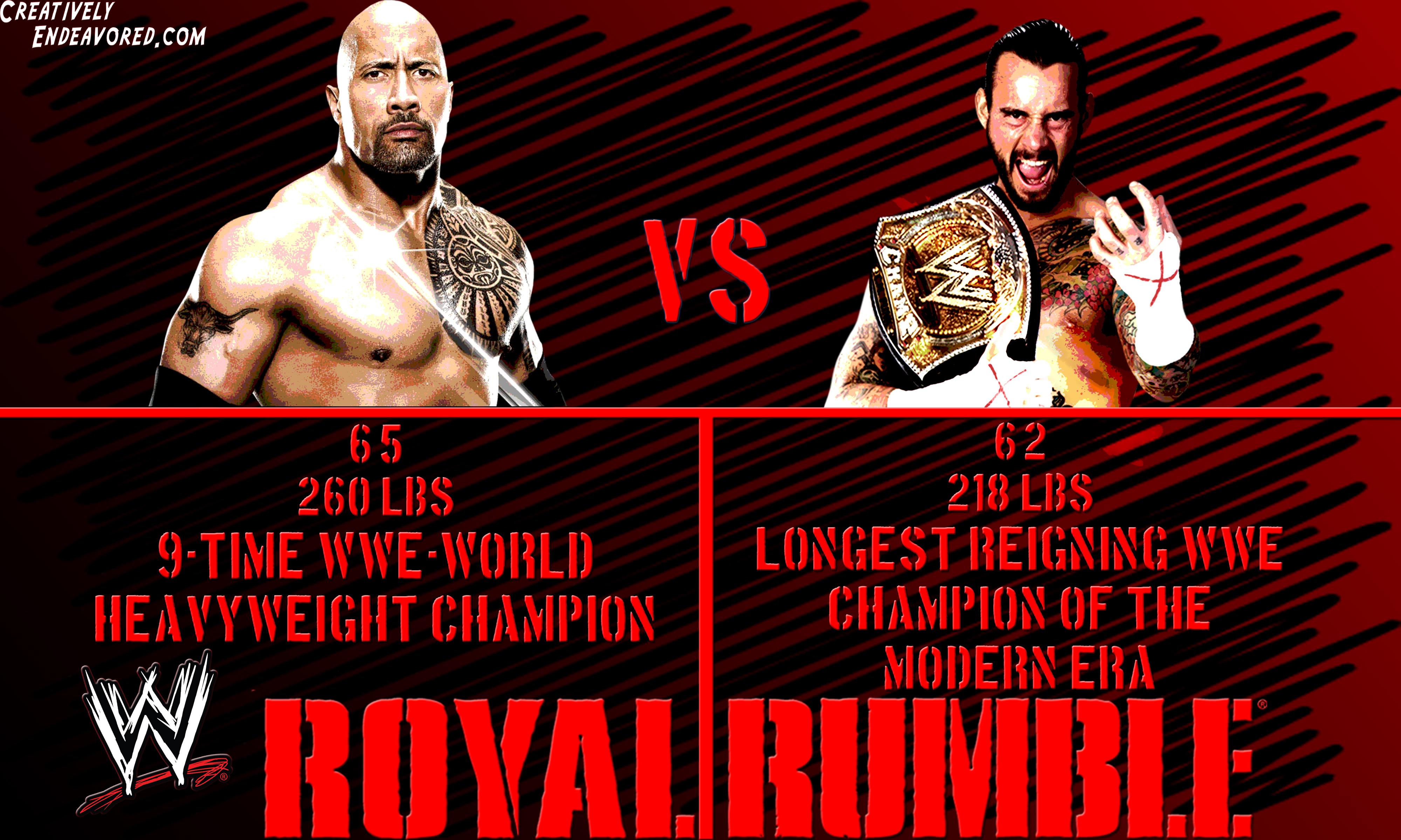 Wallpaper Wednesday Cm Punk Vs The Rock At Wwe Royal Rumble 2013